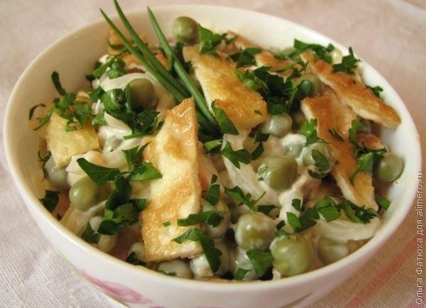 Рецепты салатов с омлетом и курицей рецепт с